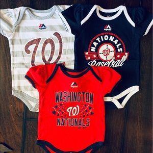 3 New Washington Nationals onesies
